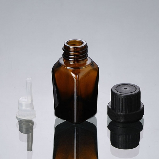 25ml Square brown essential oil bottle